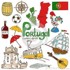 Illustration of Fun colorful sketch collection of Portugal icons, countries alphabet vector art, clipart and stock vectors. Geography For Kids, World Geography, Cultures Du Monde, World Cultures, Flags Of European Countries, Portugal Country, Portugal Travel, Templates Free, Learn Brazilian Portuguese
