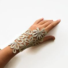 Gold Lace Hand Charm, Wrist Cuff, Bridal Fingerless Glove, Gold Guipure Lace, Modern Wedding Handmade. Limited