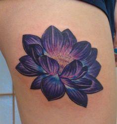 920 tattoo, oshkosh, wisconsin, carrie olson, tattoos, flower tattoos, lotus tattoo, purple lotus tattoo, purple flower tattoo, no outline