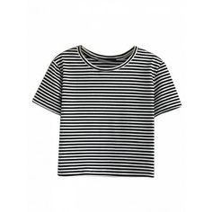 Choies Monochrome Stripe Short Sleeve Cropped T-shirt