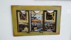 Perchero en madera con láminas autoadhesivas