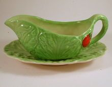 Carlton Ware Cabbage Sauce or Gravy Boat and Saucer, from Charmed Life Collectibles on Ruby Lane.