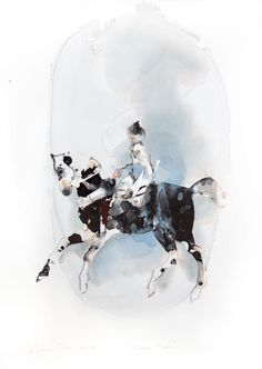 SUGAR PLUM ink on yupo artwork of a horse and rider by Pascale Chandler | StateoftheART