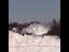 Awesome Powerful Train plow through snow railway tracks