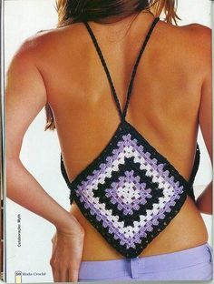 Back view fir granny square top Inspiration: crochet top and some other interesting crochet inspo Grant square In front? Easy to make longer *top inspo maybe i could crochet a granny square as a halter top. Top Crop Tejido En Crochet, Crochet Halter Tops, Crochet Shirt, Cute Crochet, Beautiful Crochet, Crochet Bikini, Knit Crochet, Crochet Designs, Crochet Patterns