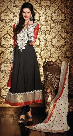$84.61 Black Thread Work Designer Anarkali Salwar Kameez 24409