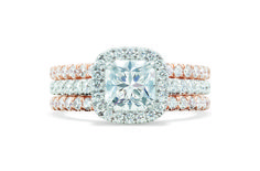 Brinkhaus cushion cut diamond ring set in white gold diamond pavé band with stacking rose gold diamond pavé bands. Cushion Cut Diamond Ring, Cushion Cut Diamonds, Bridal Jewellery, Gold Jewellery, Jewelry, White Gold Diamonds, Rose Gold, Girls Best Friend, Bands