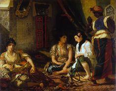 Eugène Delacroix, Mujeres de Argel en su apartamento, 1834, óleo/tela, 180 X 229 cm. Museo de Louvre.