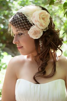 Birdcage Veil with Handmade flowers in cream and blush made by Mademoiselle Artsy www.facebook.com/mlleartsy