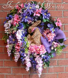 Large Purple & Lavender Wisteria Bunny Spring Wreath, Easter Wreath, Clematis, Pink Hydrangea, Rabbit Wreath, Momma and Baby Nursery by IrishGirlsWreaths on Etsy