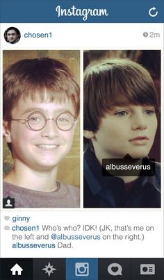 If Modern-Day Harry Potter Had Instagram @Billie Stout @Elise Goodwin @Erin Goodwin