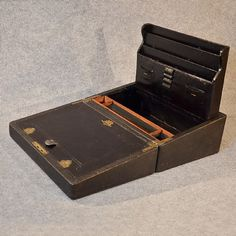 antique writing boxes | Antique Writing Slope Quality Leather Bound Stationery Box London ...