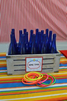 Boys Circus Themed BIrthday Party Ring Toss Game Ideas… in the plastic crate instead of this box Clown Party, Circus Carnival Party, Kids Carnival, Circus Theme Party, Carnival Birthday Parties, Circus Birthday, Birthday Party Games, Party Themes, Party Ideas