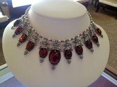 Valerio Sterling Silver Cherry Amber Jewelry Set ASAVintageTreasures, $849.99