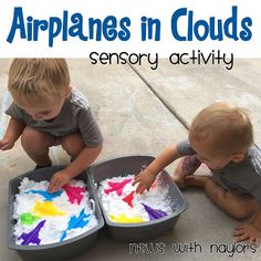 Airplane Theme for toddlers and preschoolers. Make an airplane themed sensory bi… Airplane Theme for toddlers and preschoolers. Make an airplane themed sensory bin. Transportation Theme For Toddlers, Transportation Preschool Activities, Airplane Activities, Transportation Activities, Airplane Crafts, Classroom Activities, Preschool Lessons, Toddler Preschool, Toddler Activities