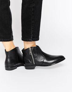 ALDO Alissonn Black Leather Flat Boots