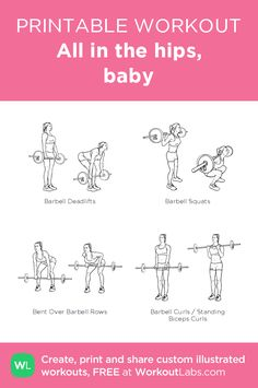 All in the hips, baby · WorkoutLabs Fit Barbell Squat, Hip Workout, Gym Workouts, Weekly Workouts, Weight Workouts, Barbell Workout For Women, Flexibility Workout, Strength Workout, Exercise Workouts