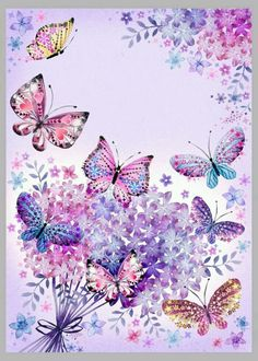 Vintage Paper Butterflies Papillons Ideas For 2019 Butterfly Painting, Butterfly Wallpaper, Butterfly Flowers, Butterfly Background, Purple Butterfly, Paper Butterflies, Beautiful Butterflies, Cute Wallpapers, Wallpaper Backgrounds