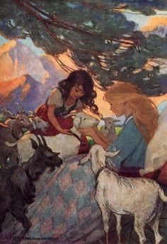 Heidi introduced each in turn by its name to her friend Clara - Heidi by Johanna Spyri, 1922