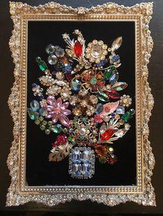 VINTAGE JEWELRY FRAMED ART, NOT CHRISTMAS TREE, FLOWER ARRANGEMENT W/SWAROVSKI