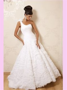 White A Line One Shoulder Strap Tulle Wedding Dress