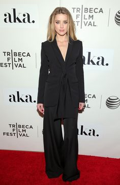 Amber Heard wearing a Stella McCartney pre-fall 2015 suit. Where: The Adderall Diaries Tribeca Film Festival premiere, 2015