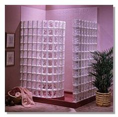 """Another simple but attractive glass block shower!  This one comes as a """"kit"""""""