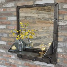 Retro Industrial Metal Wall Mirror Shelf Unit x 20 x - All For Decoration Industrial Mirrors, Industrial Design Furniture, Industrial Interiors, Industrial Style, Wall Mirror With Shelf, Metal Mirror, Steel Furniture, Pipe Furniture, Outdoor Furniture