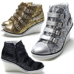 Platform Wedges Heels Sneakers Ankle Boots High Hi Top Shoes Women Girls Glitter