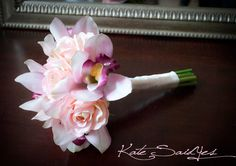 Orchid Bridal Bouquet - Pink Rose and Orchid Silk Wedding Bouquet on Etsy,