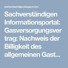 Sachverständigen Informationsportal: Gasversorgungsvertrag: Nachweis der Billigkeit des allgemeinen Gastarifs