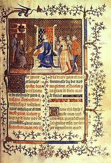 Royal 20 B. VI , f.2. King Richard II enthroned, receiving the book from the author Philippe de M Mézières. Image taken from Treatise addressed to King Richard II of England. Originally published/produced in Paris, 1395-1396.