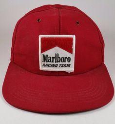 Vintage 1980s MARLBORO Racing Team CIGARETTE ADVERTISING PATCH Snapback Cap Hat #CapHat #CasualOutdoor