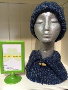 Hand Knit Hat Neck Warmer Blue/Beige Tweed by TheCraftyShamrock Chunky Yarn, Neck Warmer, Hand Knitting, Tweed, Knitted Hats, Irish, Knit Crochet, Crochet Necklace, Great Gifts
