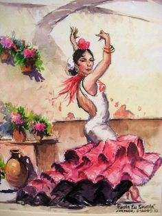 Latin Flamenco Dancer Woman Art Print Lorenzo Castaneda Ethnic Spanish Decor #Impressionism