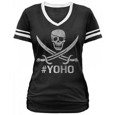 "Women's ""YOHO'"" Football Tee by Goodie Two Sleeves (Black) #inkedshop #yoho #skull #sailor #tee #fashion"