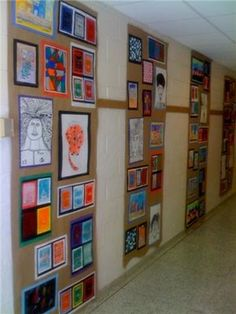 classy art display for elementary students