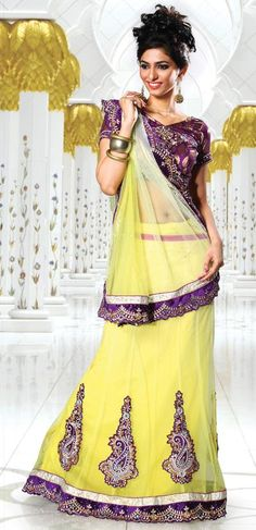 $81.96 Yellow Embroidered and Cut Work Lehenga Saree 26654