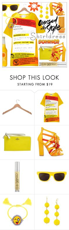 """""""Shirtdress"""" by calamity-jane-always ❤ liked on Polyvore featuring Honey-Can-Do, Moschino, Coach, Privileged, Urban Decay, Shourouk, INC International Concepts, Habit Cosmetics, shirtdress and fashionset"""