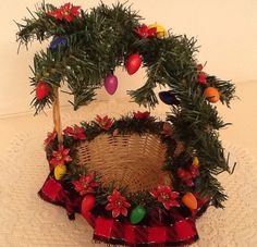 Christmas Ready-To-Fill gift basket, Red/blk ribbon with Grn garland and wooden light strand