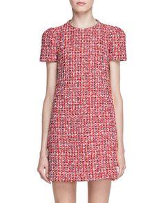 Short-Sleeve Tweed Shift Dress, Red by Alexander McQueen at Bergdorf Goodman.