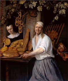 Baker Oostwaert and his wife Artist: Jan Steen  This one a baker, though selling rather than baking here