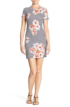 Free shipping and returns on French Connection 'Bacongo' Print Jersey Sheath Dress at Nordstrom.com. Soft, stretchy cotton forms this figure-flaunting T-shirt dress that pops with classically mixed stripes and floral prints.