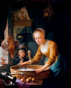 """""""Girl Chopping Onions"""" -- 1646 -- Gerrit Dou -- Dutch -- Oil on panel -- British Royal Collection."""