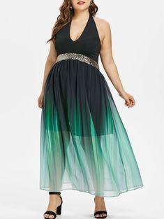 Plus Size Glittery Ombre Maxi Flowing Dress - BLACK 3X