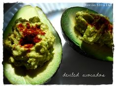 Deviled Avocados ~ Raw Food Recipe serves 2 ~ $1.81 per serving.  Come share your recipes and/or Blog with us on Facebook - #TheTexasFoodNetwork or follow us on Pinterests, @Chef Shelley Pogue  #ChefPogue