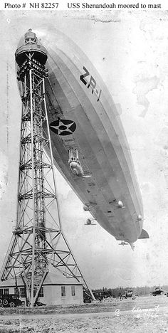 USS Shenandoah (ZR-1)    Montage of five photographs, showing the airship leaving her mooring mast at Naval Air Station Lakehurst, New Jersey, circa November 1923 - January 1924.  Photographed by Clements.    Courtesy of Mrs. Barnes.    U.S. Naval Historical Center Photograph.