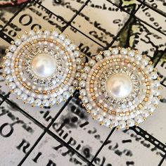 Just a few of my fav things.... #available #beadedearrings #pearl #gold #diamond #silver #beadwork