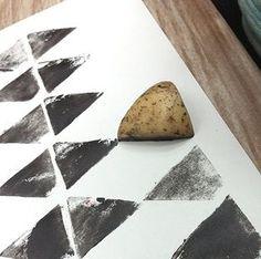 DIY potato print, photo by Ferm Living--sello de papa Potato Stamp, Potato Print, Diy With Kids, Kids Crafts, Diy And Crafts, Art Diy, Ideias Diy, Art Plastique, Art Lessons