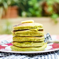 Matcha Pancakes: a one-serving recipe for lovely bright green pancakes with a subtle hint of green tea flavor.